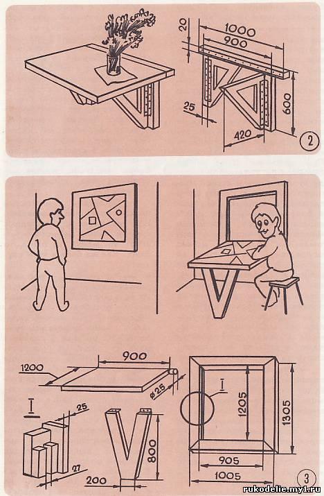 Откидной стол с креплением к стене чертежи